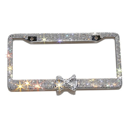 Carfond 7 Row Pure Handmade Bling Bling Rhinestones Stainless Steel License Plate Frame (Clear/clear bowtie)