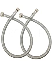 PROCURU PCSF Faucet Connector, Braided Stainless Steel, 3/8-Inch Female Compression x 1/2-Inch FIP, 2-Pack [Parent]
