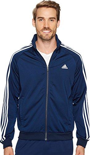 adidas Men's Essentials 3-Stripe Tricot Track Jacket, Collegiate Navy/White, Large (Adidas Tricot Zip Jacket)