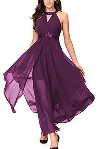 Yacun Mujeres Vestido Fiesta A Largo Vestido De Dama De Honor Coctel De Por La Noche Verano Purple