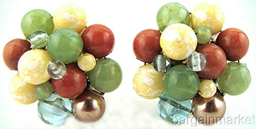 (Vintage Pastel Seed Bead Knot Cluster Clip On Earrings For Women)