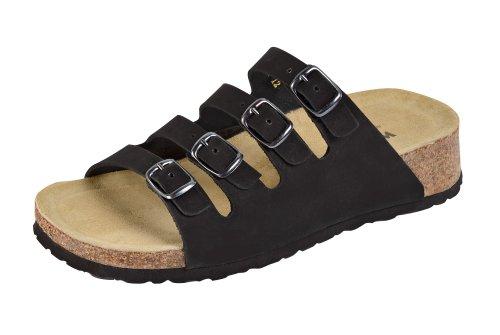 Weeger Bio-Keil-Pantolette 11460 - Zapatos con hebilla de cuero para mujer Negro