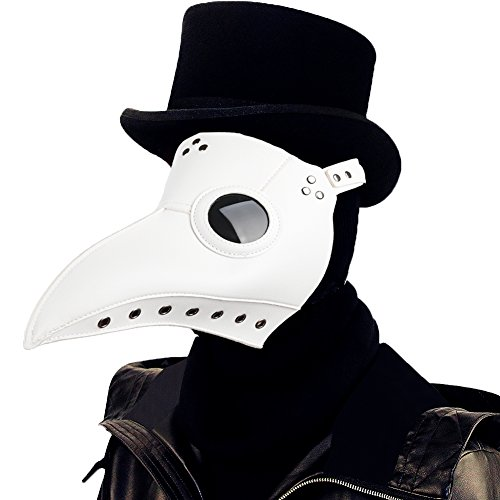 Raxwalker Plague Doctor Bird Mask Long Nose Beak Cosplay Steampunk Halloween Costume Props (White) -