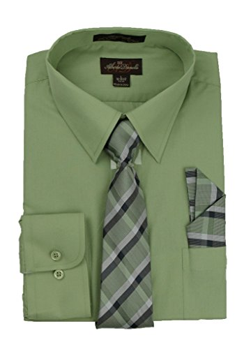 Alberto Danelli Men's Long Sleeve Dress Shirt with Matching Tie and Handkerchief, Small / 14-14.5 Neck -32/33 Sleeve, - Coral Green Pistachio