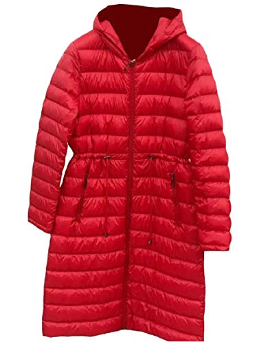 Mid Waist Hood Coat Down Red Women Weight Ultra Light XINHEO Warm Tie Long q8TExwEap