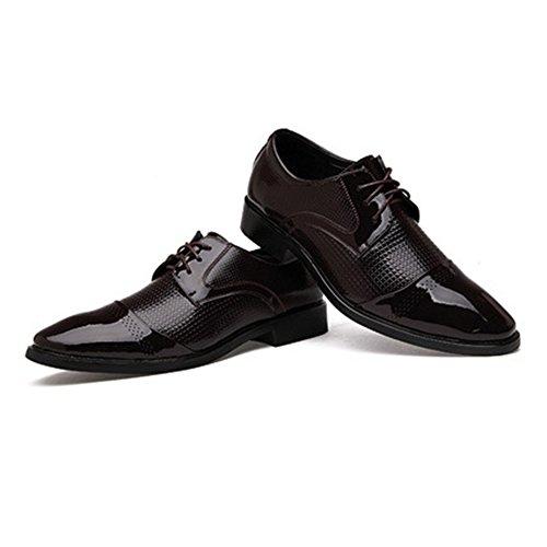 Vintage Classique Derby Pointu Toe Brogue Dentelle Ups Mariage Hommes PU Uniforme Chaussures Business Oxford Parti Chaussures Brown 3MAxIipSX3