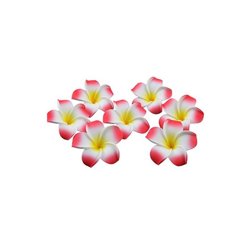 silk flower arrangements sealike 100 pcs diameter 2.4 inch artificial plumeria rubra hawaiian flower petals for wedding party decoration with stylus red