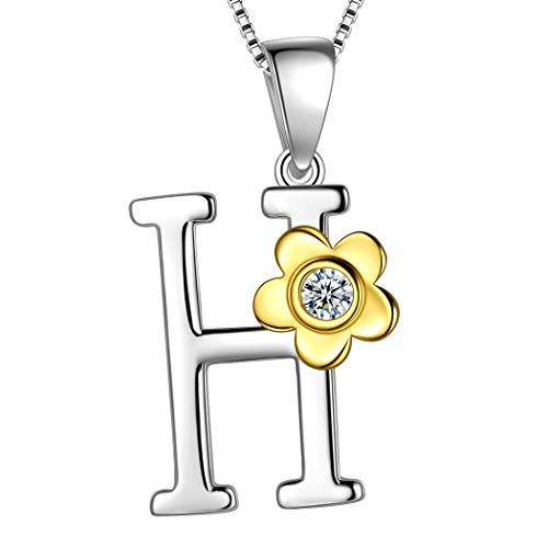 Aurora Tears Initial Letter H 925 Sterling Silver Daisy Flower Necklace 18k Gold Plated Charm Alphabet Pendant Two-Tone Gold Plated Jewelry DP0141H ()