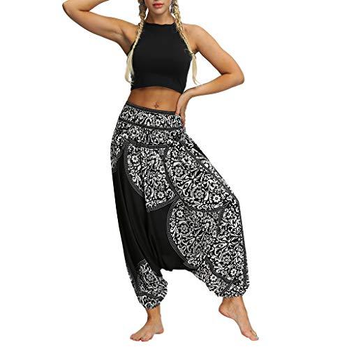 FIRERO Women Boho Aladdin Jumpsuit Casual Loose Yoga Trousers Baggy Pants -