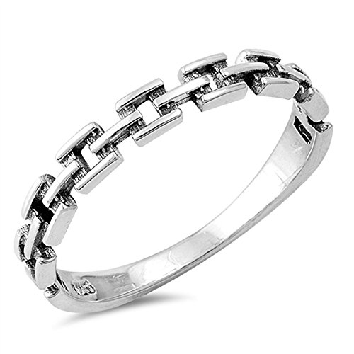Oxidized Chain Link Biker Fashion Ring New .925 Sterling Silver Band Size 3 (3 Link Ring)