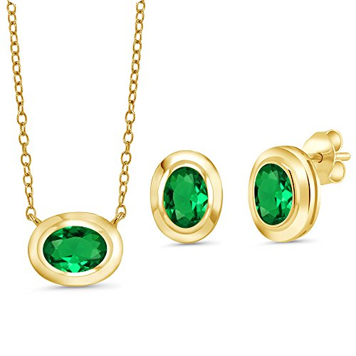 Gem Stone King 1.80 Ct Simulated Emerald 18K Yellow Gold Plated Silver Pendant Earrings ()