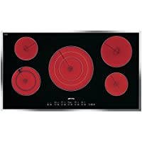 Smeg S2951CXU 36 Smoothtop Electric Cooktop with 5 High-Light Radiant Elements Including a Triple Element 9 Power Levels and Automatic Safety Cut-Out in Black with Stainless Steel