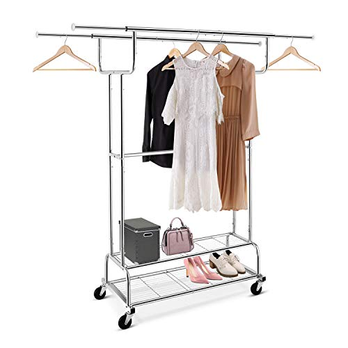 Simple Trending Double Rail Clothes Garment Rack, Heavy Duty Commercial Grade Clothing Rolling Rack on Wheels and Bottom Shelves, Holds up to 300 lbs, Chrome
