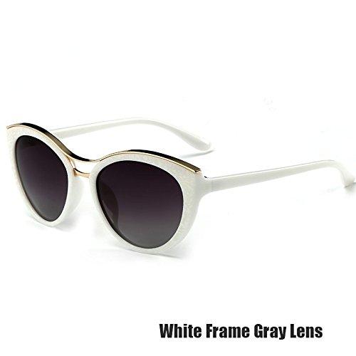 White Gato De Gafas Ojo Gafas Vintage Polarizadas Para De Azul Gray Las TIANLIANG04 Mujeres Gris wOIpqxO