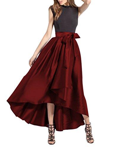 avec Vintage Longue Haute CoutureBridal Ceinture Elgante Rouge Jupe Haille Une Jupe Femme Satin Soire Fonc pour vanSwqF
