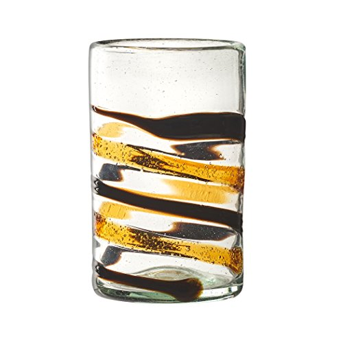 Amici Home, A7MCR806S4R, Yucatan Collection Hiball Drinking Glass, Mexican Artisan Handmade Glassware, Recycled Glass, Dishwasher Safe, Set of 4, 16 O…
