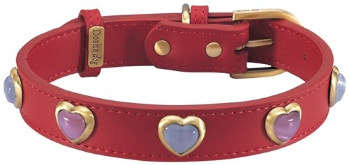 """10.5""""-12"""" Heart Pink & White Cat Eye On Red Dog Collar 3/4"""" wide, Small"""