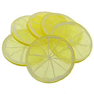 Gresorth 6pcs Highly Simulation Fake Yellow Lemon Slice Artificial Fruit Model Home Party Decoration 2