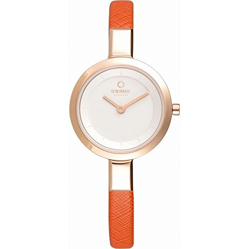 Obaku V129LXVIRO Ladies Gold Plated Skinny Coral Leather Strap Watch