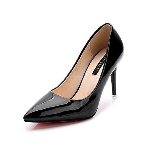 AalarDom Mujer Sin cordones Puntiagudo Tacón Alto Material Suave Sólido De salón Negro-Charol
