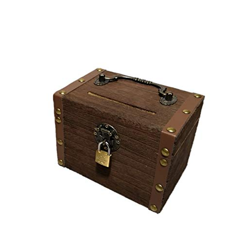 Antique Treasures Five Drawer Chest - GE&YOBBY Wooden Piggy Bank,Safe Money Box Savings with Lock Wooden Carving Handmade Coin Bank Savings Money Vintage Box Change Gift Toy for Children Kids-a 25x18x20cm(10x7x8inch)