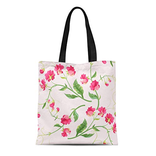 Semtomn Cotton Canvas Tote Bag Green Pea Sweetpea Flowers Pink Sweet Pattern Abstract Agriculture Reusable Shoulder Grocery Shopping Bags Handbag Printed