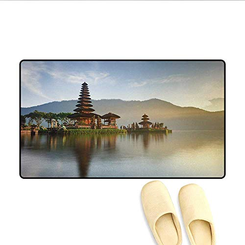 - Bath Mat,Pura Ulun Danu Temple Panorama Sunrise on A Lake Bratan Bali Indonesia Waterscape,Customize Door Mats for Home Mat,Brown Beige,Size:20