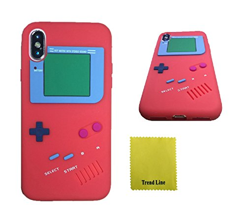 New Design Silicone (iPhone X Case,Trend Retro 3D Game Boy Gameboy Design Style Soft Silicone Cover Case For New Apple iPhone X 5.8 inch+ Free Cleaning Cloth With Trend Line Trademark Gifts (Red))