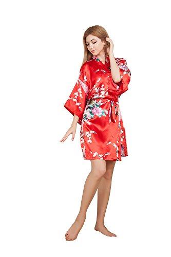 Blossom Peacock - DaHeng Women's Peacock & Blossom Print Silky Kimono Short Robe,Red,One Size