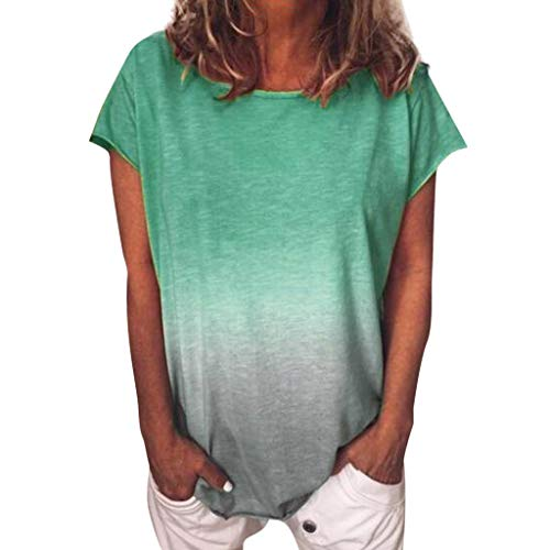 (Women's T-Shirt Casual Gradient Color Short Sleeved Round Neck T-Shirt Tunic Casual Summer Blouse Tee Tops Light Green)