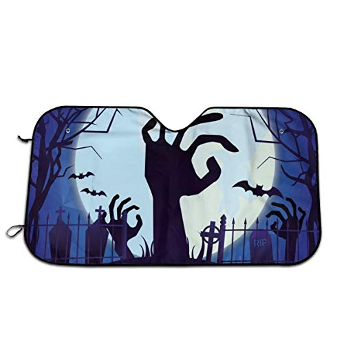Cool Halloween Designs (Happy Halloween Horror Night Bat Zombie Hand Moon Sun Shade,Windshield Sun Shade Sunshades Keep Vehicle Cool Protect Your Car from Sun Heat & Glare Best UV Ray Visor Protector(Size: 27.5)