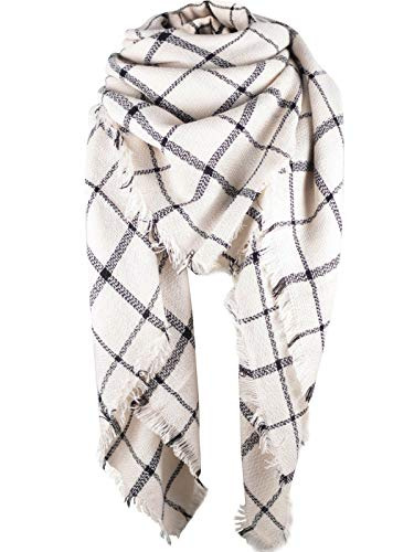 Zando Plaid Blanket Thick Winter Scarf Tartan Chunky Wrap Oversized Shawl Cape White Black Stripe ()