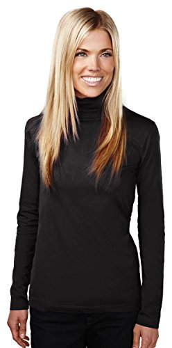 Tri-Mountain 607 Womens Cotton/Poly 60/40 Mock Neck LS Knit Pullover - Black - - Ls Knit Pullover