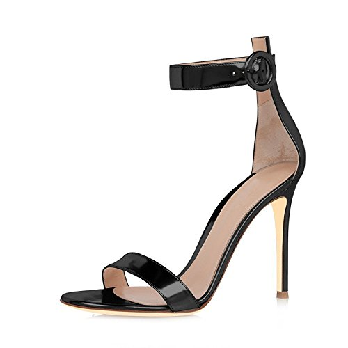 Mermaid Women's Shoes Open Toe Stiletto High Heel Ankle Strap Sandals-Black-8.5 (Heels Sandals Stilettos High 7')