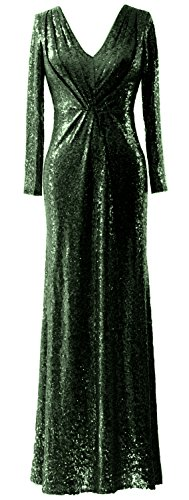 MACloth Dunkelgrun Mother Gown Sleeves Long Neck Dress V Evening of Bride Sequin Elegant pwarOqp