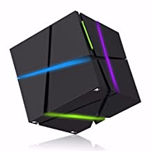 Bluetooth Speaker, ELEGIANT Portable LED Light Cube Bluetooth Mini Wireless Speaker Stereo Box Powerful Sound with Build-in Microphone, Work for Smart Iphone Ipad, Ipod,Samsung,Tablet Laptop Mp3 CD Pl Black