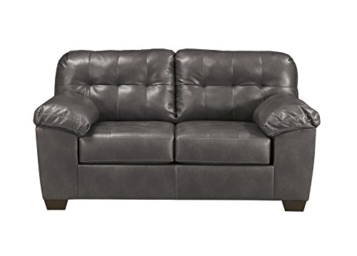 Ashley Furniture Signature Design - Alliston Contemporary Upholstered Loveseat - Gray