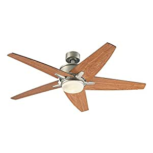 Trestle Ridge 52-in Nickel Downrod or Close Mount Indoor Ceiling Fan with Light Kit and Remote