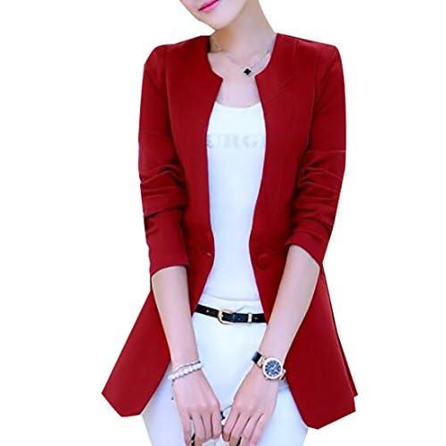 Fulok Womens Fashion One Button Solid Slim Office Coat Blazer Jacket