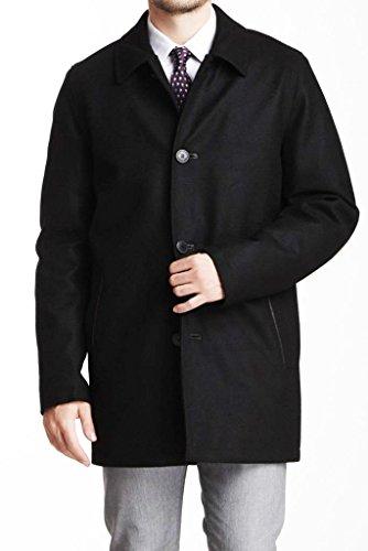 Vince Camuto Black Wool Blend Leather Trim Melton Car Coat Size Large