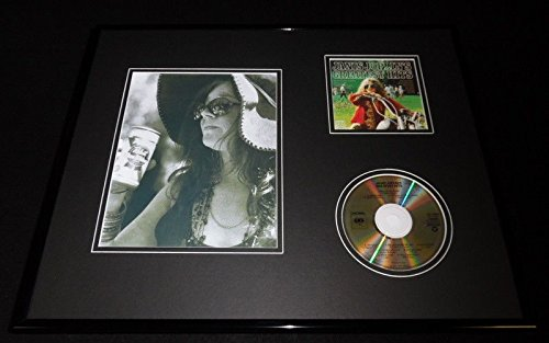 Janis Joplin Framed 16x20 Greatest Hits CD & Drinking Pabst Beer Photo Display