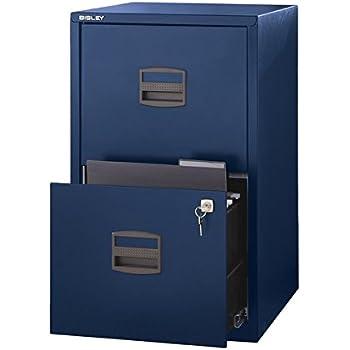 Bisley Two Drawer Steel Home Filing Cabinet, Navy Blue (FILE2 NV)