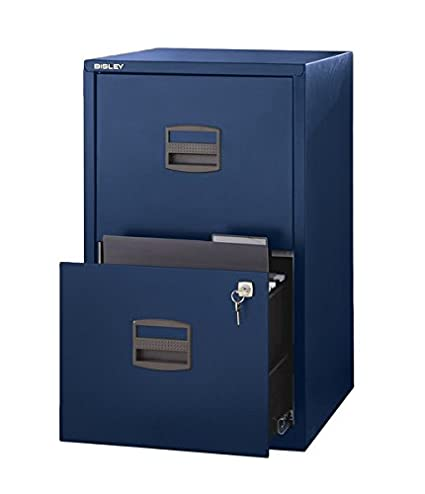 Merveilleux Bisley Two Drawer Steel Home Filing Cabinet, Navy Blue (FILE2 NV)