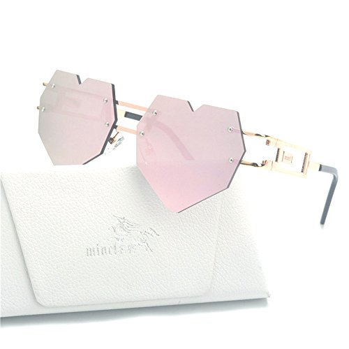 MINCL/Womens Designer Cute Rimless Love Heart Shaped Sunglasses (gold-mirrored pink, gold-mirrored - Shaped Sunglasses Heart Face