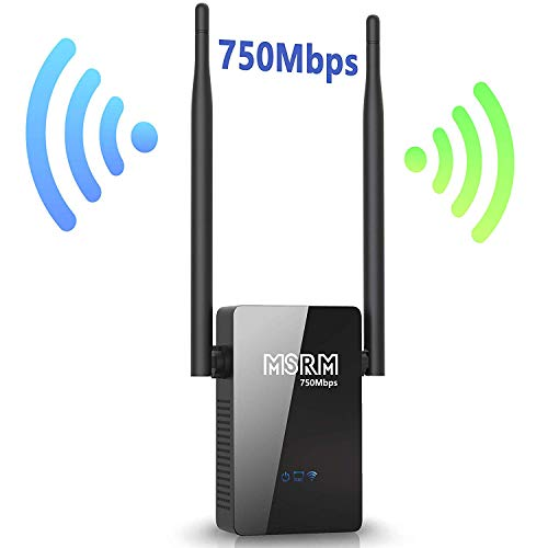 MSRM WiFi Range Extender US750 360 Degree 750Mbps Wall Plug Range Extender Booster with Double External Antennas