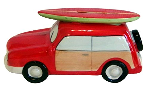 Surfboard Red Surf Decor - Woody with Surfboard Bank Figurine (Red)