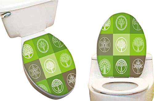 Home Toilet seat Sticker Tree Logo organicdesign Element eco bio Circle Badge Funny Toilet seat Home Vinyl Decal sticker15 ()