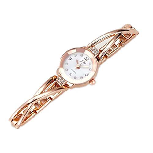 Women Rose Gold Plated Alloy Rhinestone Dial Bracelet Wrist Watch Gift Gold - 4
