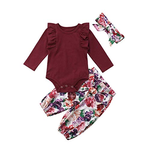 3Pcs/Set Infant Baby Girl Ruffle Long Sleeve Romper+Floral Skirt+Headband Outfits (Pants, 18-24 Months) (Piece Headband 2)