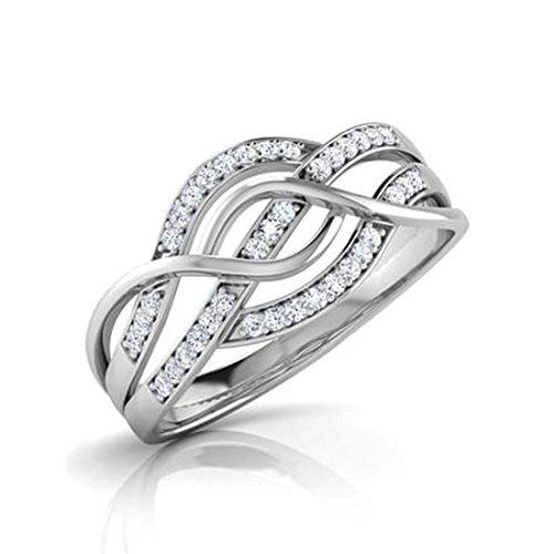 18K Or Blanc, 0,18carat Diamant Taille ronde (IJ | SI) en diamant
